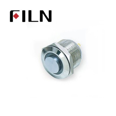 19mm 0.748inch High Flat Momentary Led Ring Nickel plated brass Short type 4 Solder Pin need connect extra Metal Push Button (FLM19□□-HJ-E-T-4P)