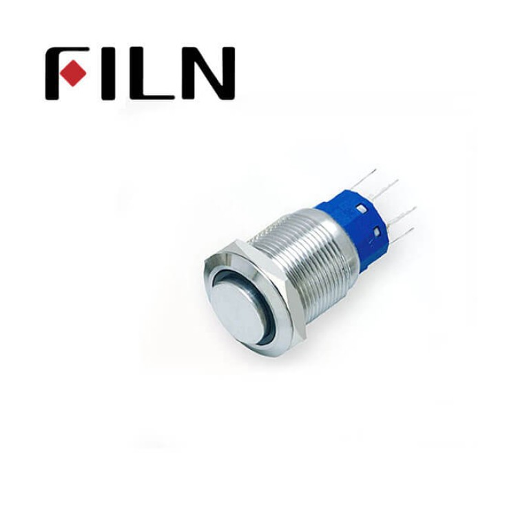 19mm 0.748inch High Flat Nickel plated brass  Ring Led Momentary 1NO1NC 5 Solder Pin Metal Push Button (FLM19□□-HJ-E)
