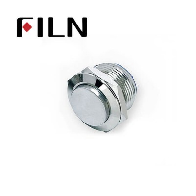 19mm 0.748inch Short type High Flat Stainless Steel  No light Momentary 2 Screw Pin Metal Push Button (FLM19□□-HJ-T-2P)