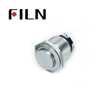 19mm 0.748inch Stainless Steel  High Flat1NO Momentary 2 Screw Pin Metal Push Button (FLM19□□-H10-2P)