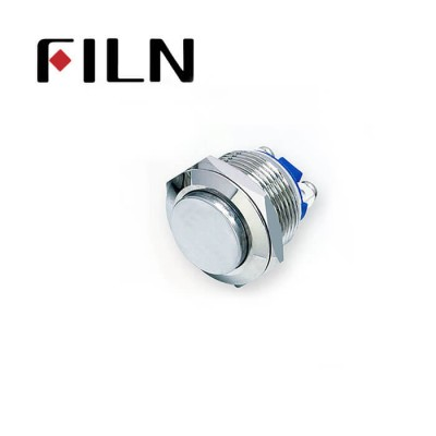 19mm 0.748inch Short type Stainless Steel  High Flat1NO Momentary 2 Screw Pin Metal Push Button (FLM19□□-H10-T-2P)