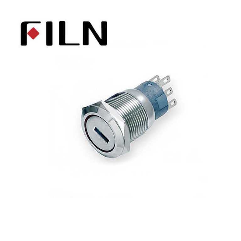 19mm 0.748inch Nickel plated brass  2 Position  with Key  6 Solder Pin Metal Push Button (FLM19□□-KJ)
