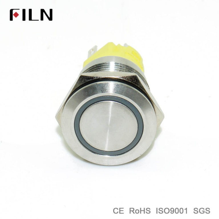 19mm ring led illuminated flat head stainless steel push button switch