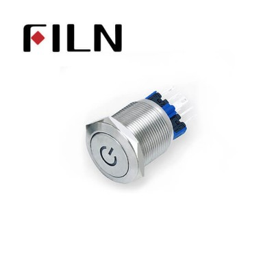 22mm 0.866inch stainless steel custom led flat button 1no1nc momentary 6 solder pins Metal Push Button(FLM22□□-FJ-C-11-6P)