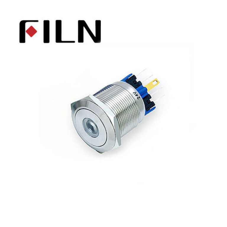 22mm 0.866inch stainless steel dot led flat button 1no1nc momentary 6 solder pins Metal Push Button(FLM22□□-FJ-D-11-6P)