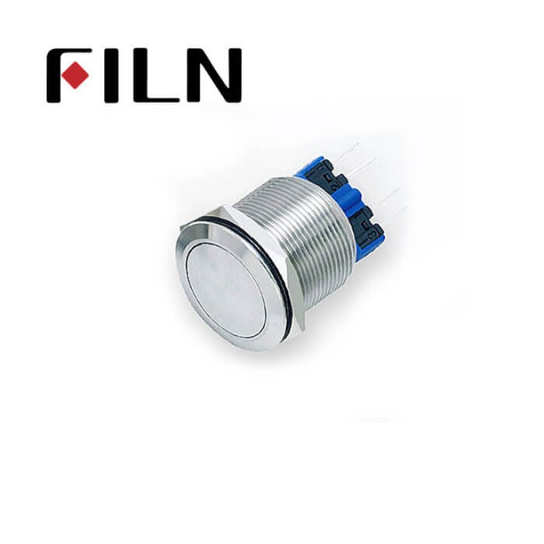 22mm 0.866inch stainless steel Non-illuminated,flat button 1no1nc momentary 4 solder pins Metal Push Button(FLM22□□-FJ-11-4P)