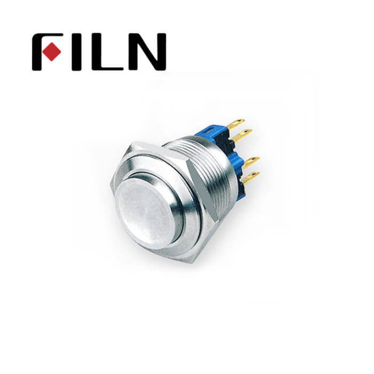 22mm 0.866inch stainless steel Non-illuminated,high button 1no1nc momentary 4 solder pins Metal Push Button(FLM22□□-HJ-11-4P)