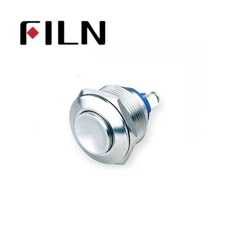 22mm 0.866inch stainless steel Non-illuminated,high button 1no momentary 2 screw pins Metal Push Button(FLM22□□-H10-2P)