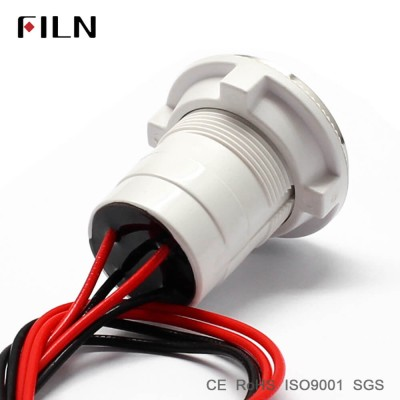 22mm plastic body stainless steel surface metal push button button switch with wire leading directly ring led illuminated