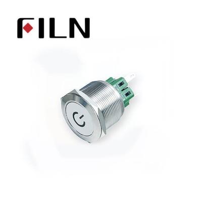 25mm 0.984inch spec mark illuminated latching flat head 1NO1NC stainless steel 6 solder pin Metal Push Button(FLM25□□-FJ-C-11-6P)
