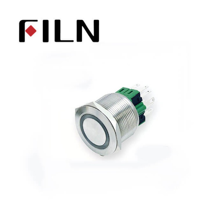 25mm 0.984inch  round ring illuminated latching flat head 1NO1NC stainless steel 6 solder pin Metal Push Button(FLM25□□-FJ-E-11-6P)