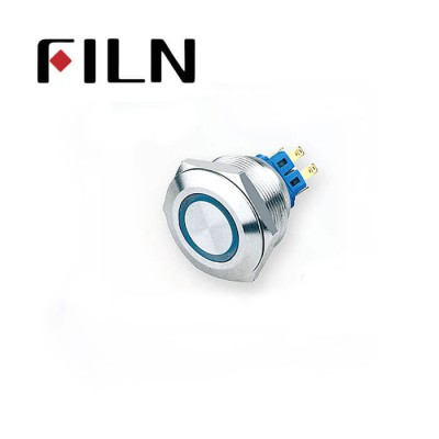 28mm 1.10inch round ring illuminated latching flat head 1NO1NC stainless steel 6 solder pin Metal Push Button(FLM28□□-FJ-E-11-6P)