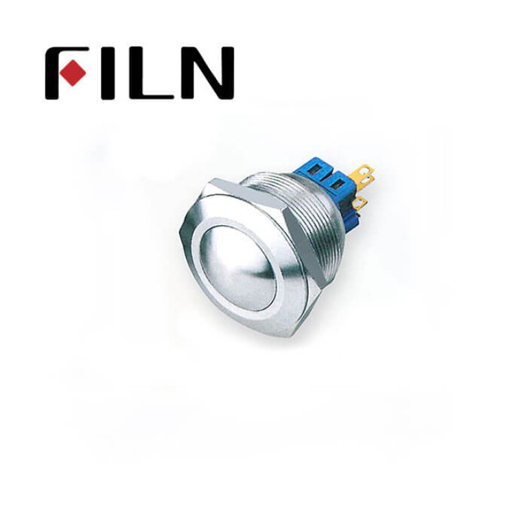 28mm 1.10inch dot illuminated latching flat head 1NO1NC stainless steel 6 solder pin Metal Push Button(FLM28□□-FJ-D)