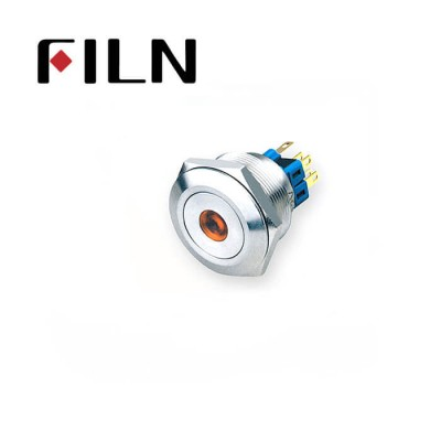 28mm 1.10inch no illuminated latching ball head 1NO1NC stainless steel 6 solder pin Metal Push Button(FLM28□□-BJ-11-6P)