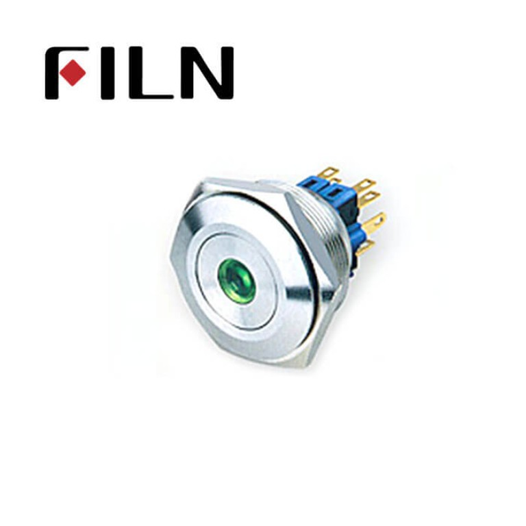 30mm 1.18inch no illuminated latching flat head 1NO1NC stainless steel 6 solder pin Metal Push Button(FLM30□□-FJ-D-11-6P)