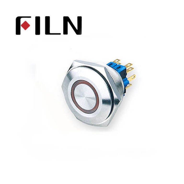 30mm 1.18inch round ring illuminated latching flat head 1NO1NC stainless steel 6 solder pin Metal Push Button(FLM30□□-FJ-E-11-6P)