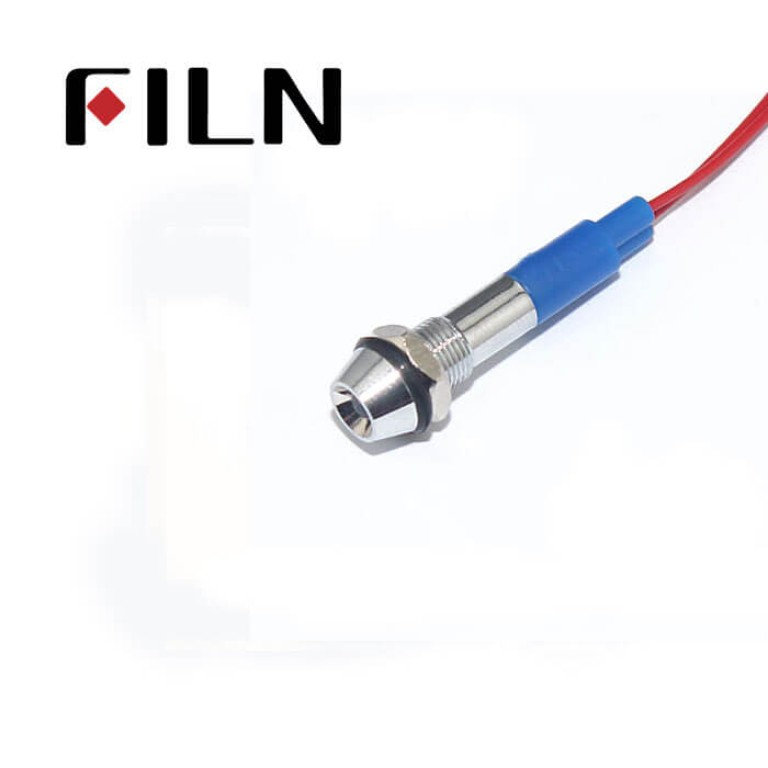6mm 0.236inch 12V waterproof metal led indicator light with wire(FL1M-6CW-1)
