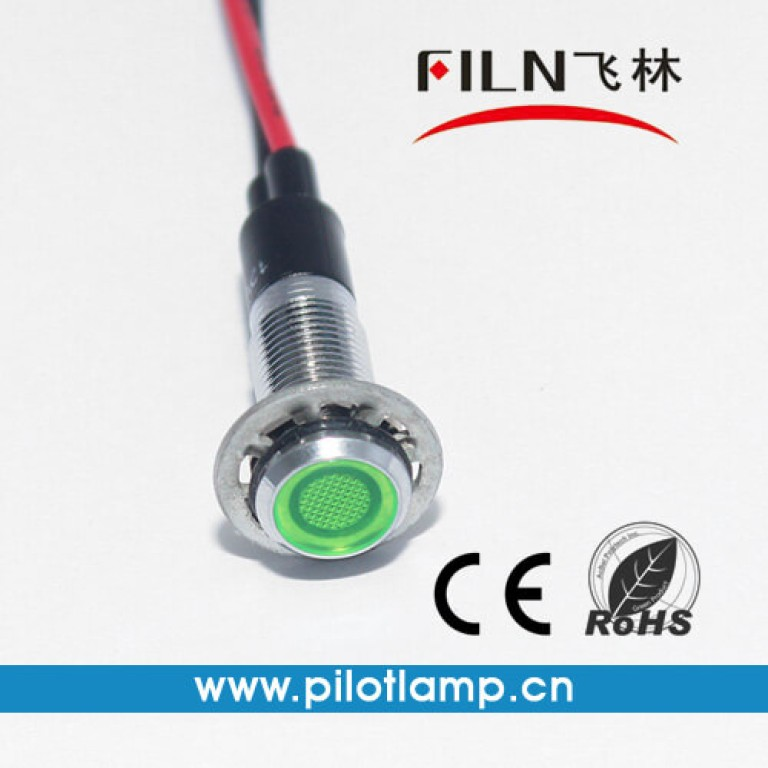8MM 0.31inch 12V metal indicator light with wire(FL1M-8FW-1)