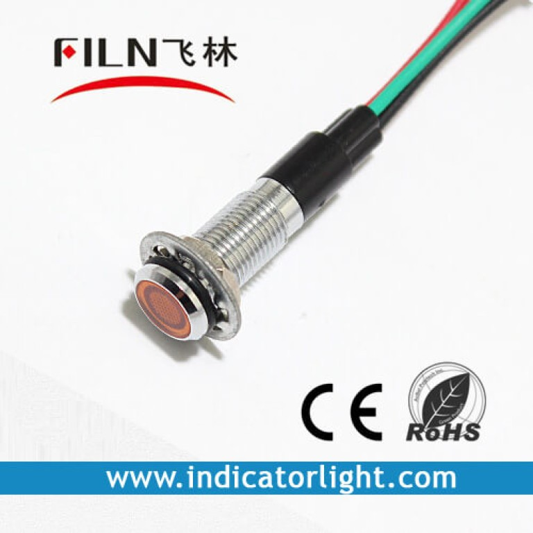 8MM 0.31inch 12V metal indicator light with wire(FL1M-8FW-D-1)