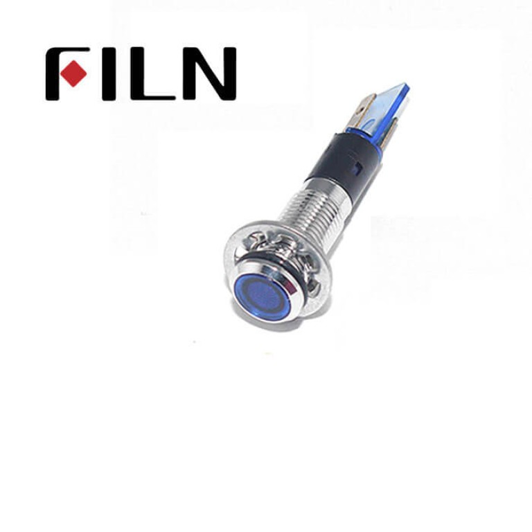 8MM  0.31inch  12V metal indicator light without wire(FL1M-8FJ-1)