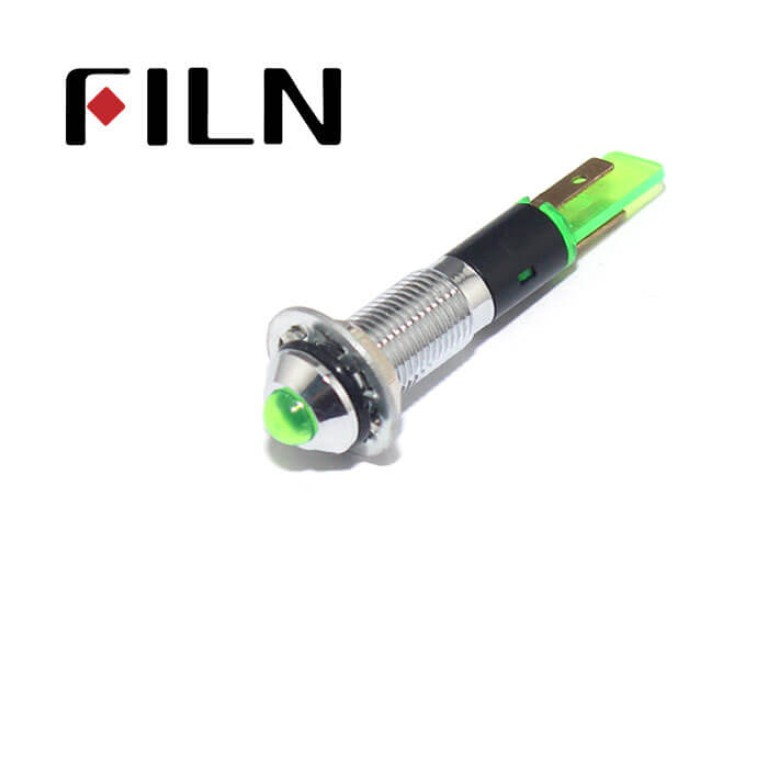 8MM 0.31inch 12V metal indicator light without wire(FL1M-8SJ-2)