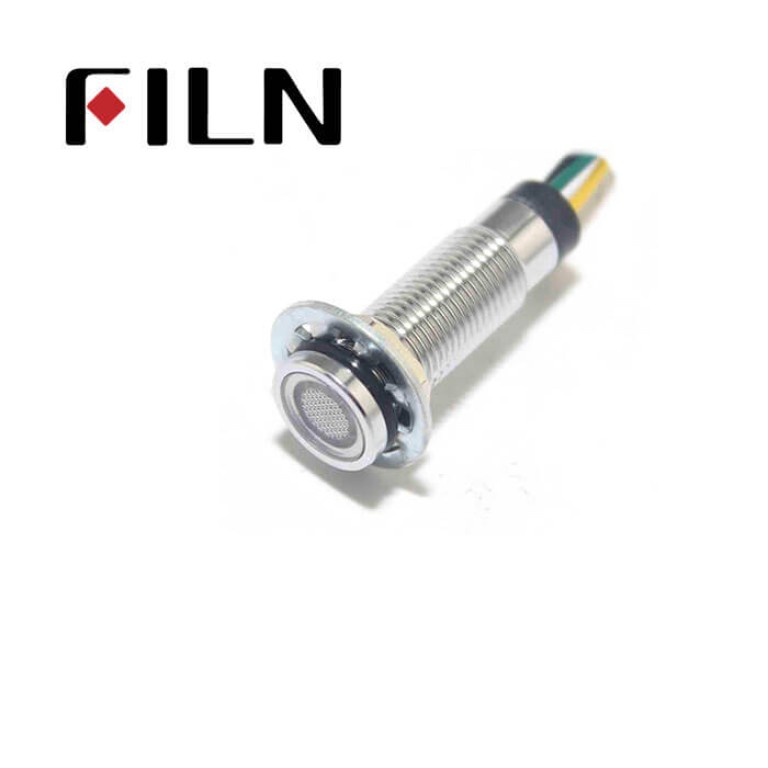 8MM 0.31inch 12V metal flat three color led signal light(FL1M-8FW-T)