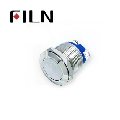 19mm 0.748inch Stainless Steel Flat 1NO Momentary 2 Screw Pin Metal Push Button (FM19□□-FS-2P)