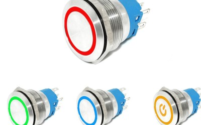 RGB LED triple LED illuminated push button switch in 2NO2NC