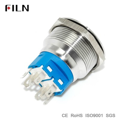 25mm 0.98inch ring led illuminated flat head metal push button switch