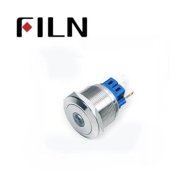 25mm 0.984inch dot illuminated latching flat head 1NO1NC stainless steel 6 solder pin   Metal Push Button(FLM25□□-FJ-D-11-6P)