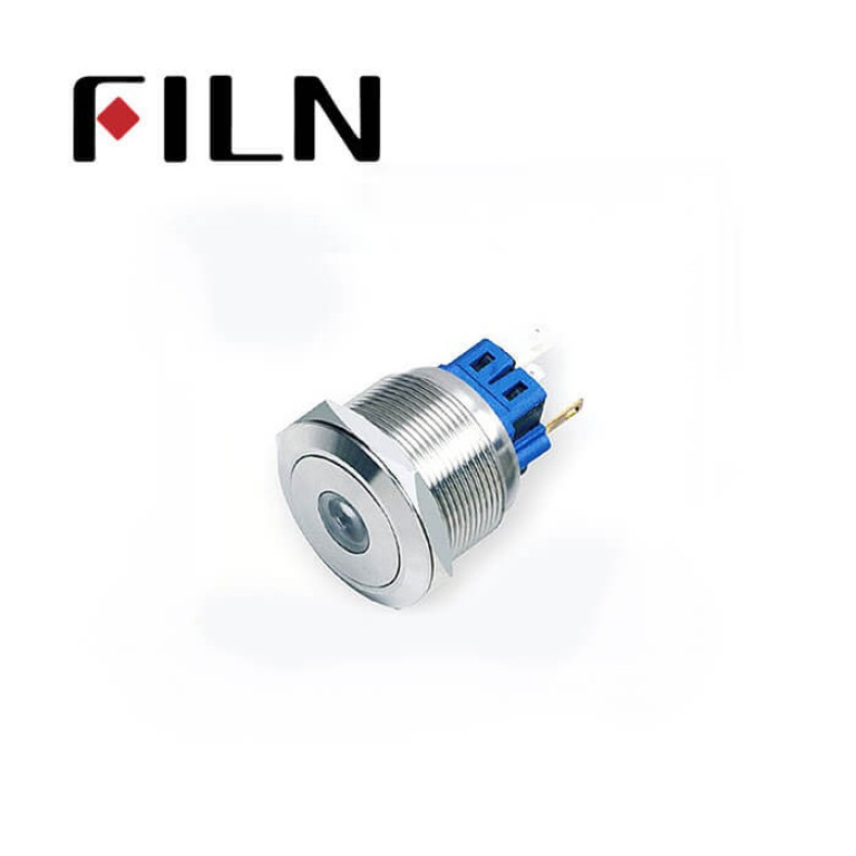 25mm 0.984inch dot illuminated latching flat head 1NO1NC stainless steel 6 solder pin Metal Push Button(FLM25□□-FJ-D-11-6P)