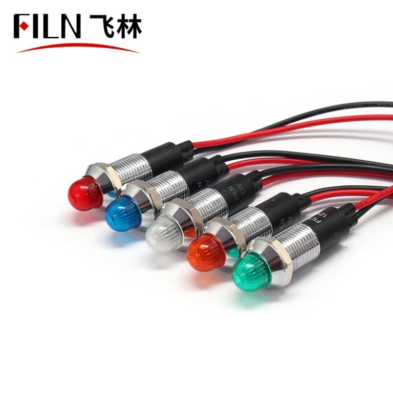 12MM metal Audio equipment 220v white indicator light