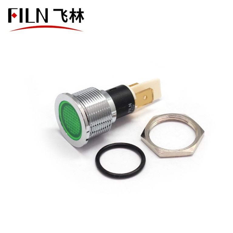 19mm Flat Metal Indicator Light with Reflector