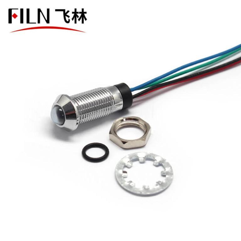 8MM three color waterproof IP67 metal signal indicator light