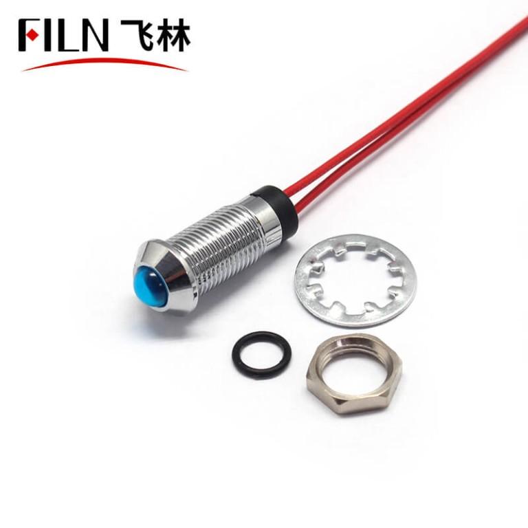 12V 8mm IP67 RED LED METAL signal indicator light for bike