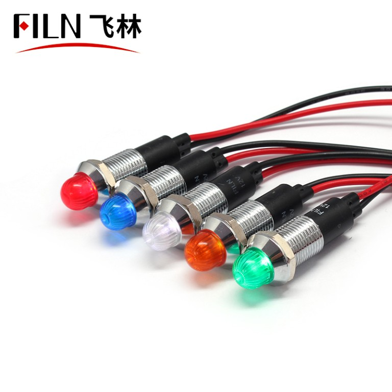 12MM metal Audio equipment 220v white indicator light
