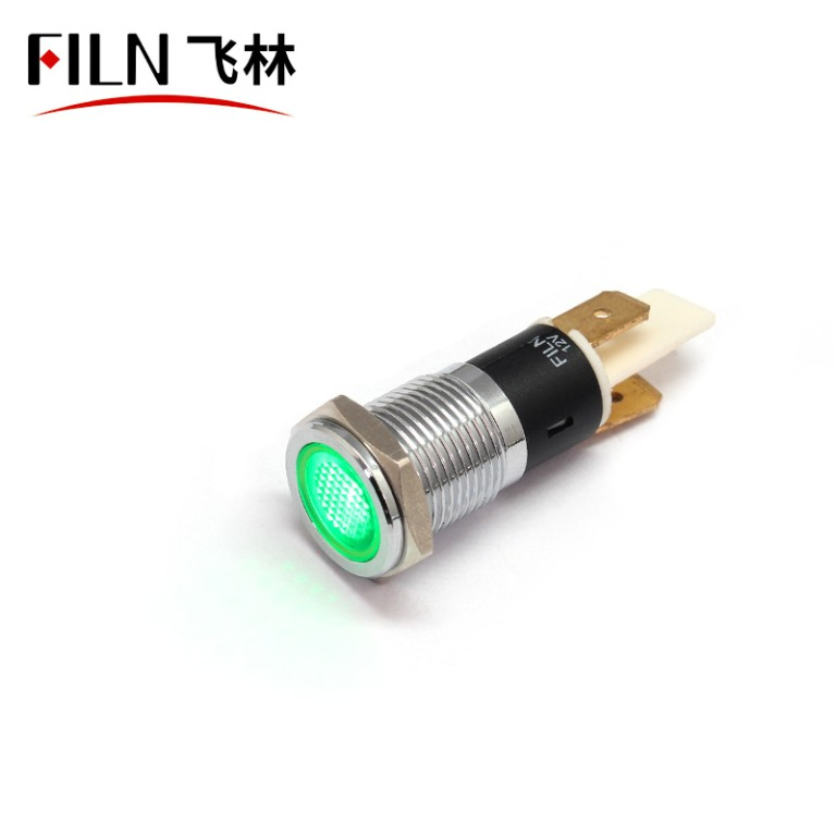14MM 110V waterproof ip67 green led metal indicator light