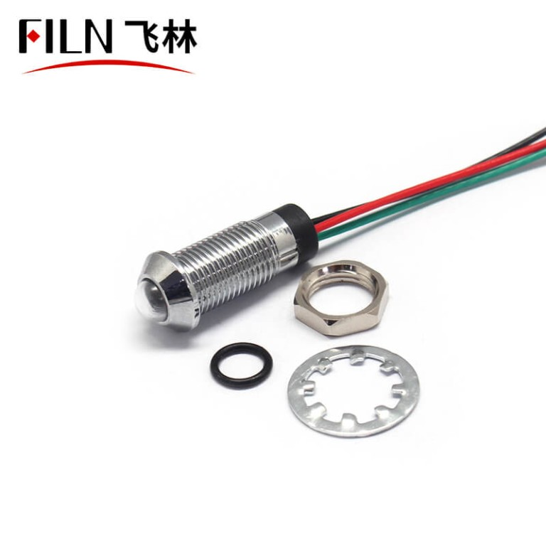 8mm Red Green Two Color Waterproof Metal Indicator Light Lamp