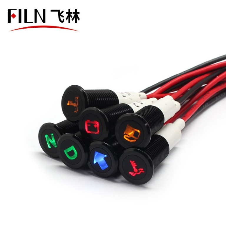 10mm 12V Custom Symbol Indicator Light with Wire