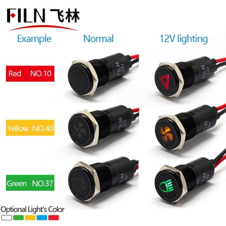 12mm red metal Custom pattern 6v indicator light
