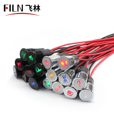 14mm 12v custom symbol picture trademark metal car indicator light with wire