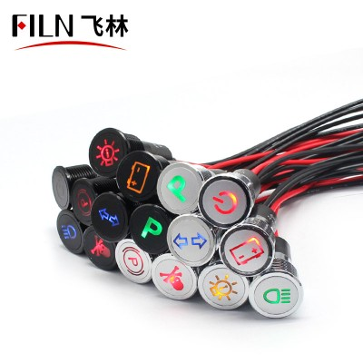 16mm 12v custom car symbol waterproof ip67 indicator light with wire