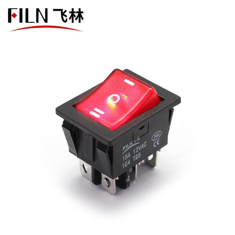 ON OFF ON Rocker Switch 12V 15A Red LED PA66 Nylon