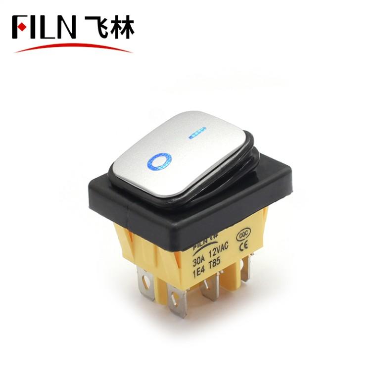 FILN LED Waterproof Rocker Switch IP68 KCD4 6PIN Momentary