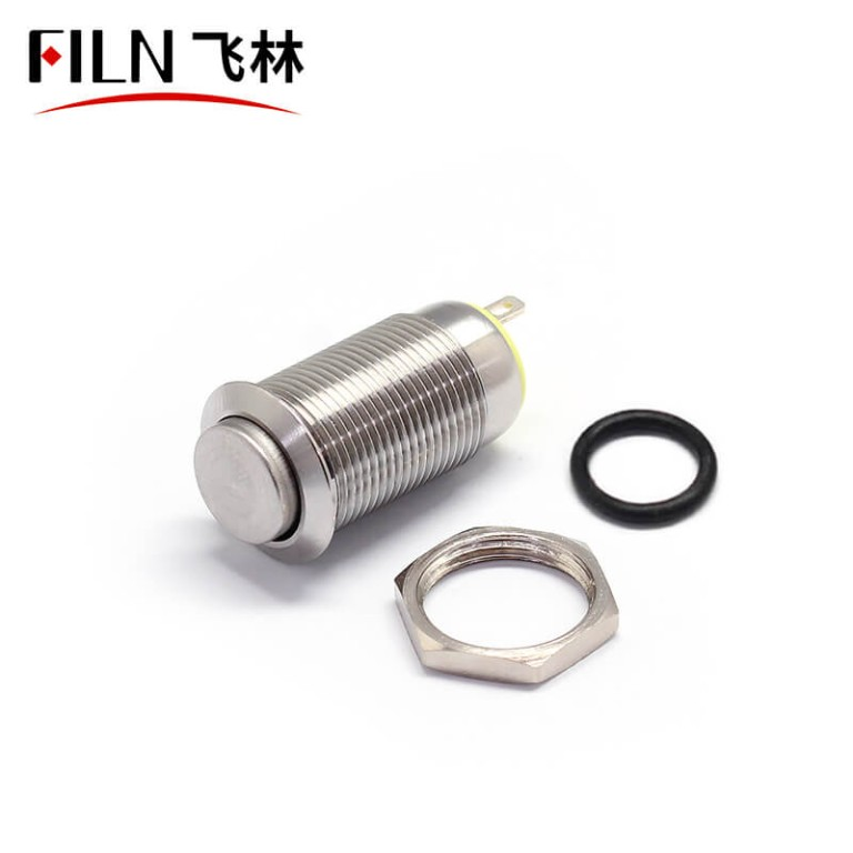 FILN Mini 12MM 2 PIN Momentary Push Button NC Contacts