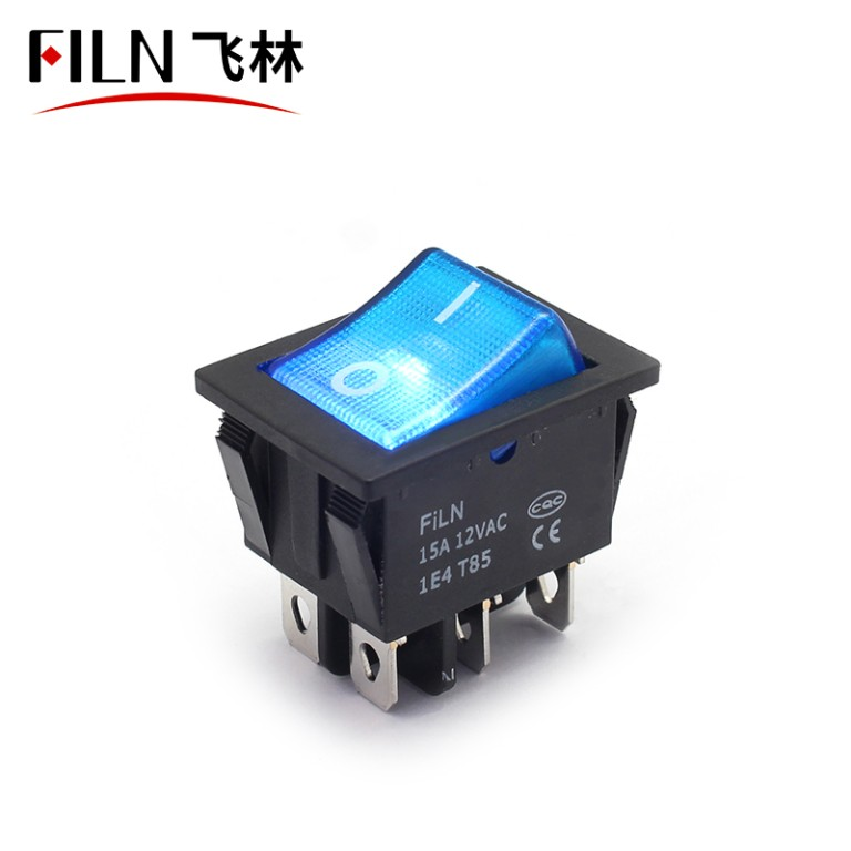 4 Prong Rocker Switch KCD4 15A 24V Green LED Latching