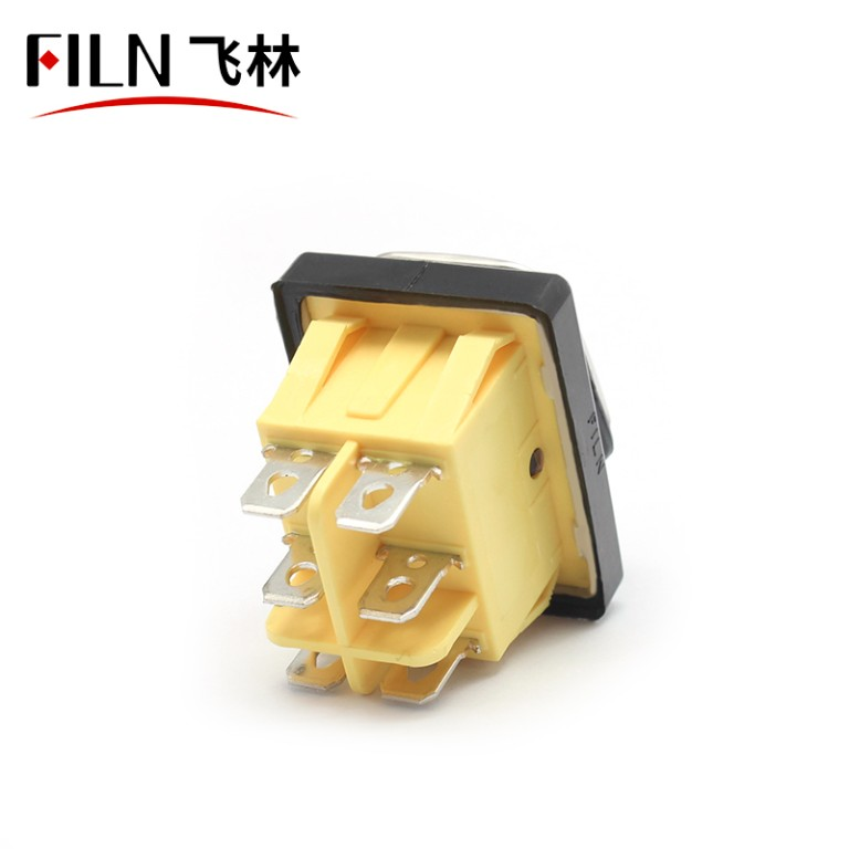 Illuminated KCD4 15A 250V IP67 Stainless Steel on-off-on 6 PIN Rocker Switch