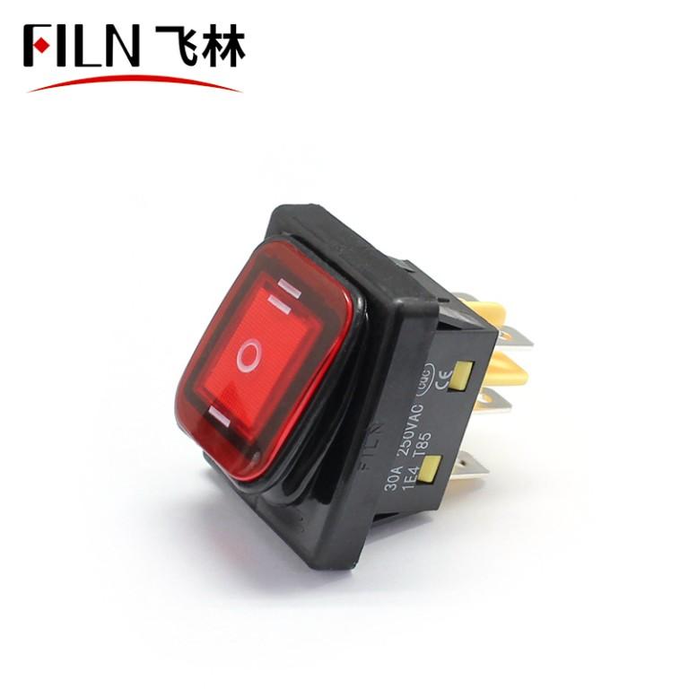 FILN Waterproof LED Rocker Switch 20A KCD4 250V on off on 6Pin