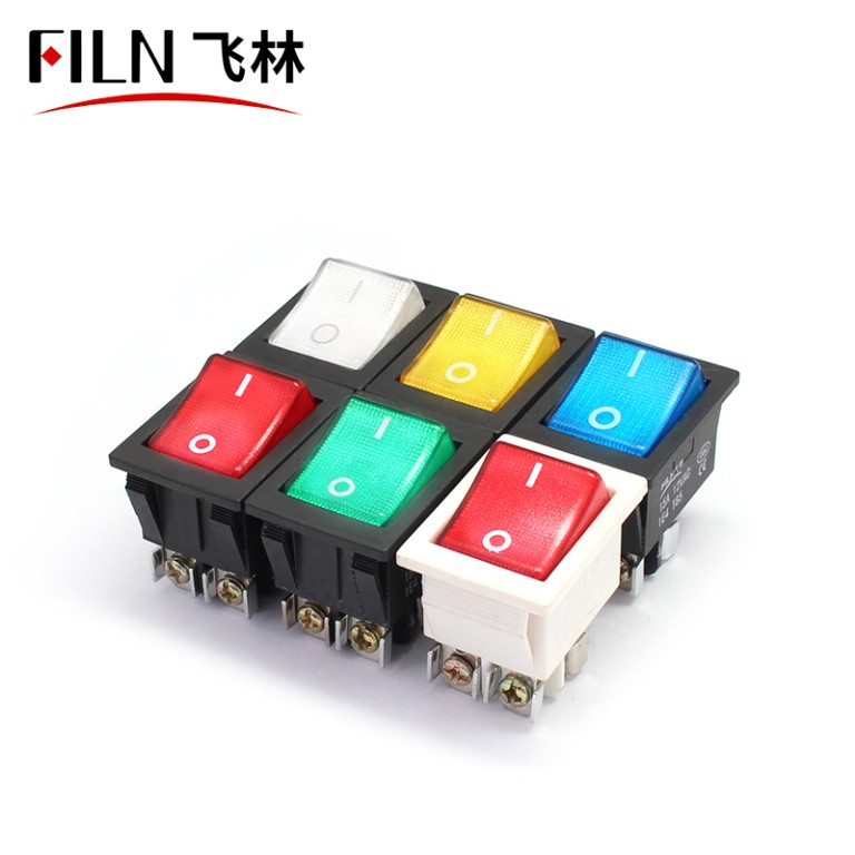 12V 250V Bule LED Screw Feet KCD4 Boat Rocker Switch