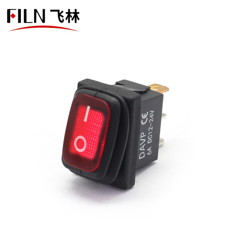 RED 3 Pin Rocker Switch KCD1-102N IP67 ON OFF Waterproof 250V